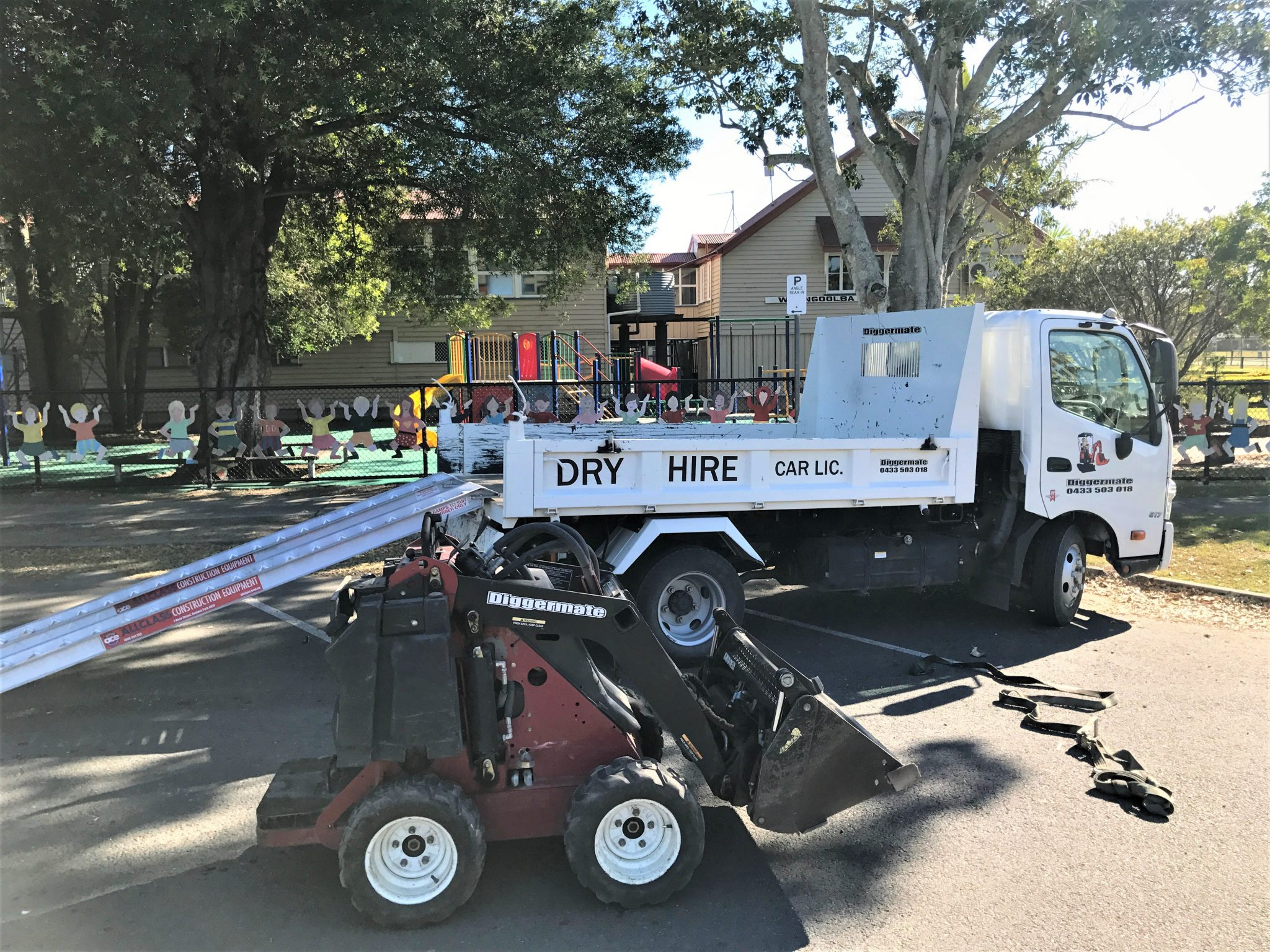Delivery truck using Aluminium ramps from Diggermate with Dingo Mini Loader