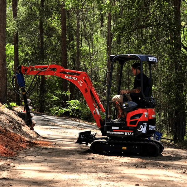 Mini Excavator from Diggermate with Auger attachment